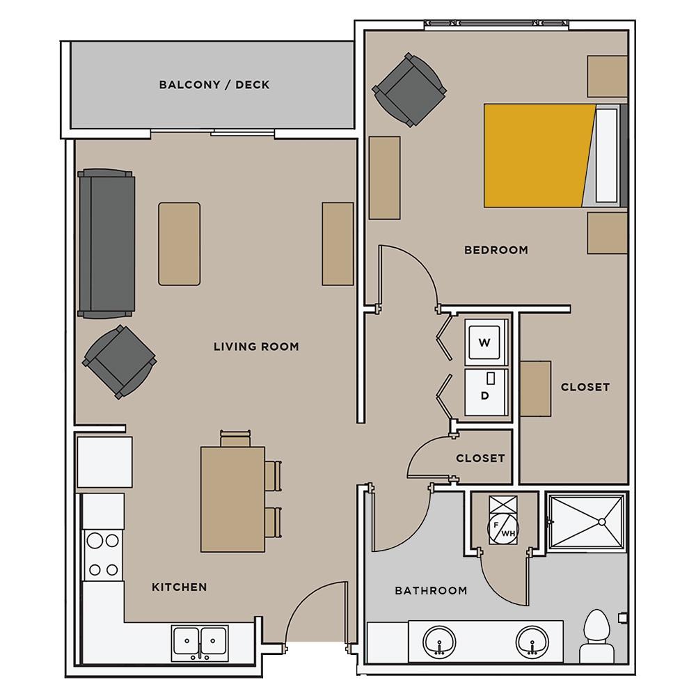 Uptown Landing 1 Bedroom Floorplan