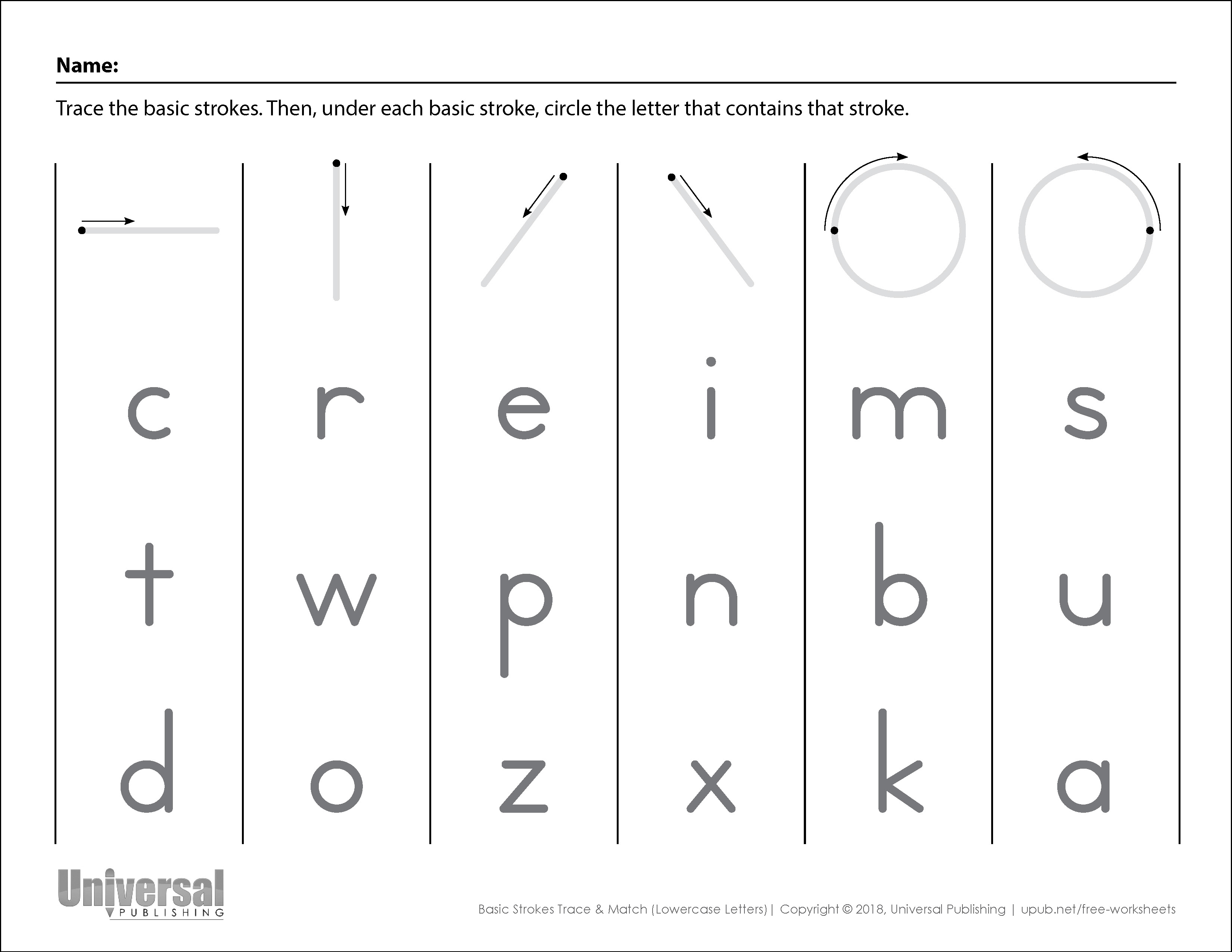 Basic Strokes Activities Free Printables