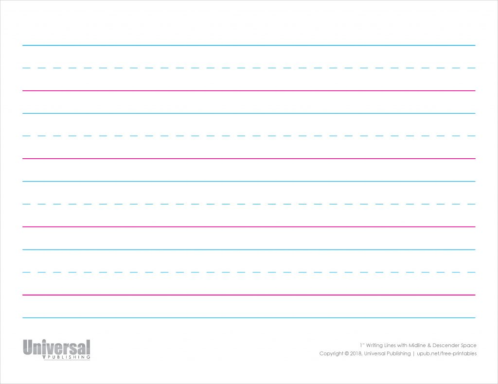 Writing Lines Color Horizontal One Inch