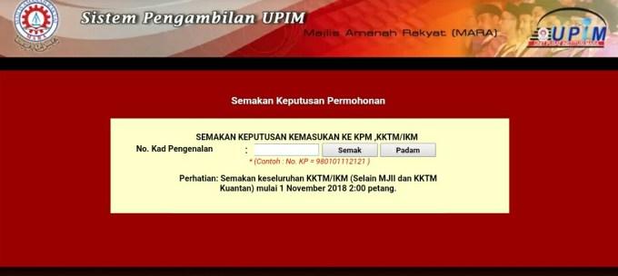 Semakan Keputusan KKTM MJII IKM 2019 (Sesi Julai) Online