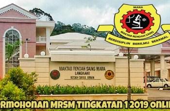 Permohonan MRSM Tingkatan 1 2019 Online