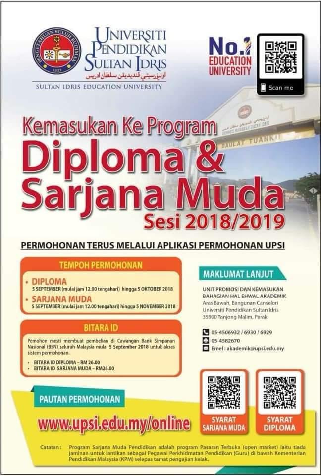 Permohonan UPSI 2019 Online (Program Diploma & Sarjana Muda)
