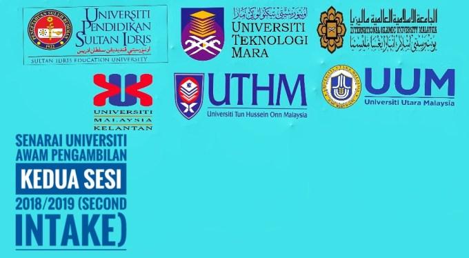 Senarai Universiti Awam Pengambilan Kedua Sesi 2018/2019 (Second Intake)