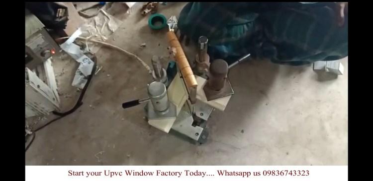 Welding using Saicon portable upvc corner welding machine