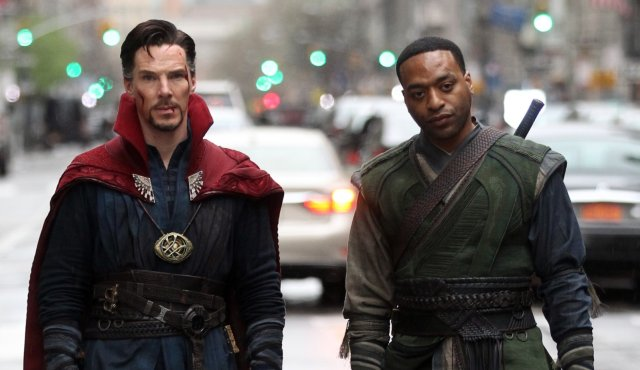 "NEW YORK, NEW YORK - APRIL 02:  Benedict Cumberbatch, Chiwetel Ejiofor filming Marvel Picture's ""Dr. Strange""  on April 2, 2016 in New York City.  (Photo by Steve Sands/GC Images)"