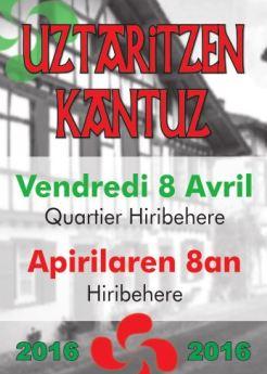 Uztaritzen Kantuz 8 avril 2016