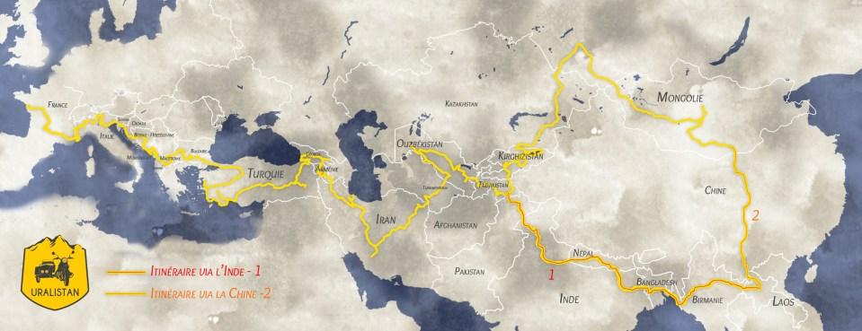 carte de l'itineraire du road-trip Laos-France