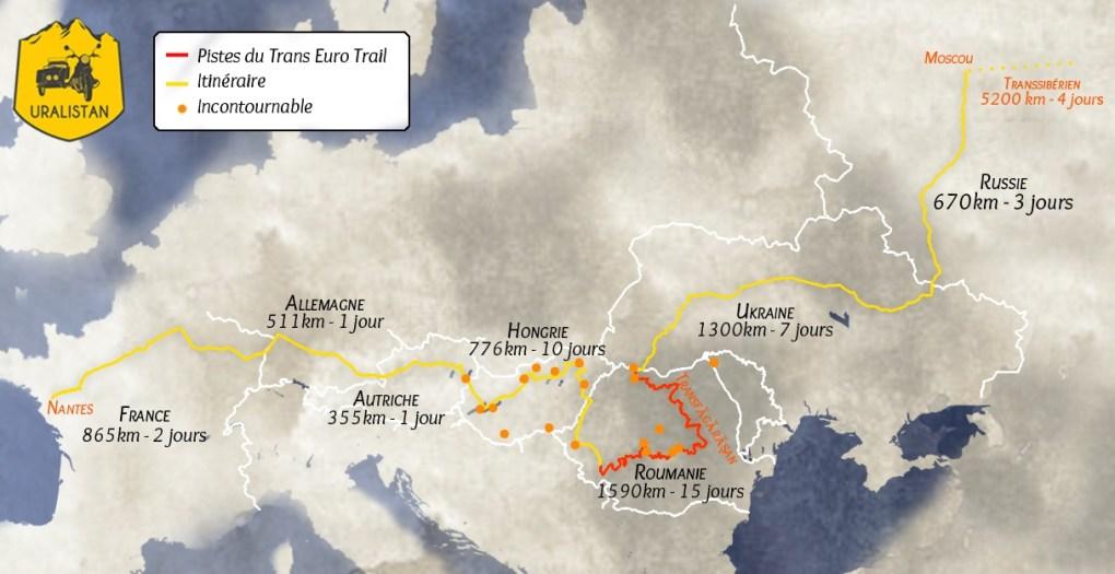Itinéraire du road-trip : Europe de l'Est