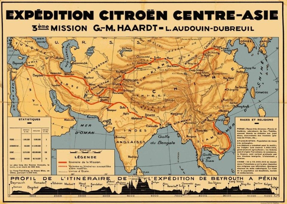 Carte de l'itinéraire de la croisière jaune 1931