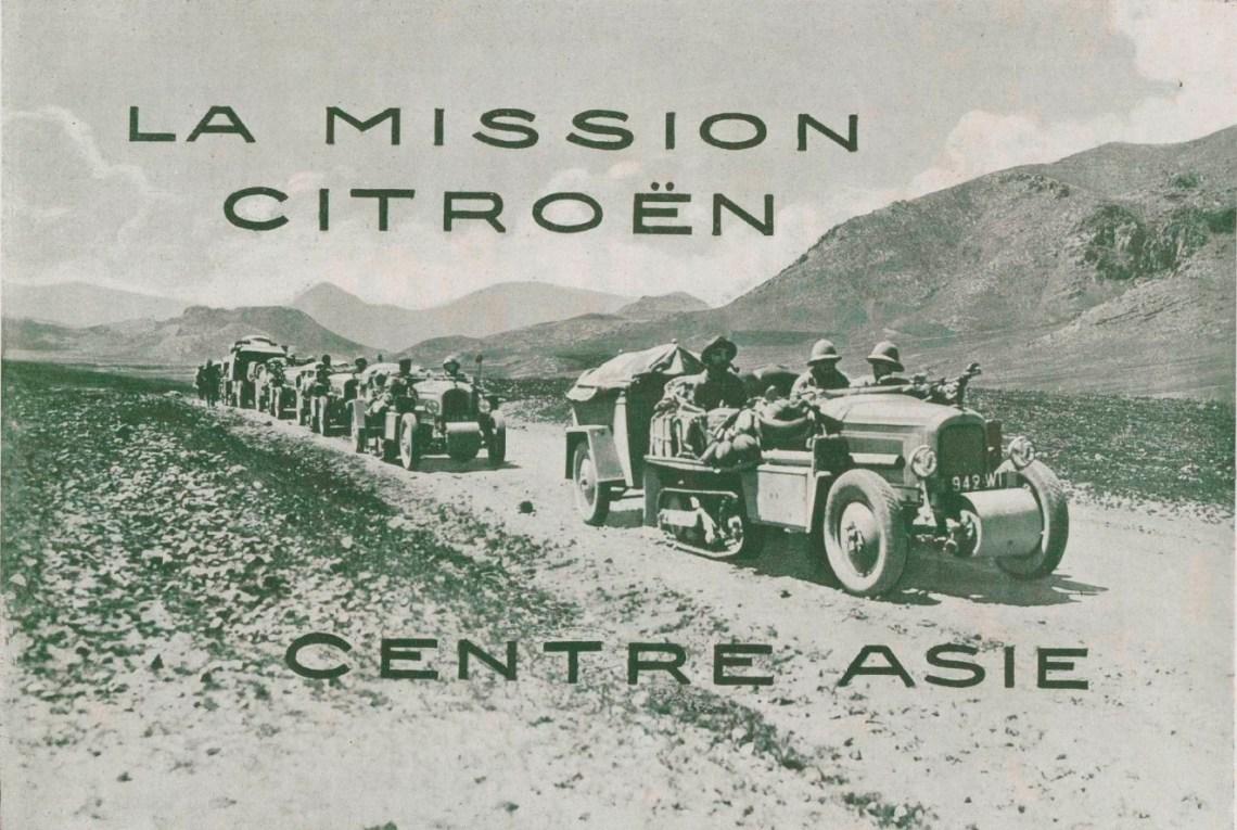 la Croisière jaune, Les autochenilles du groupe Pamir sur une route d'Asie centrale.