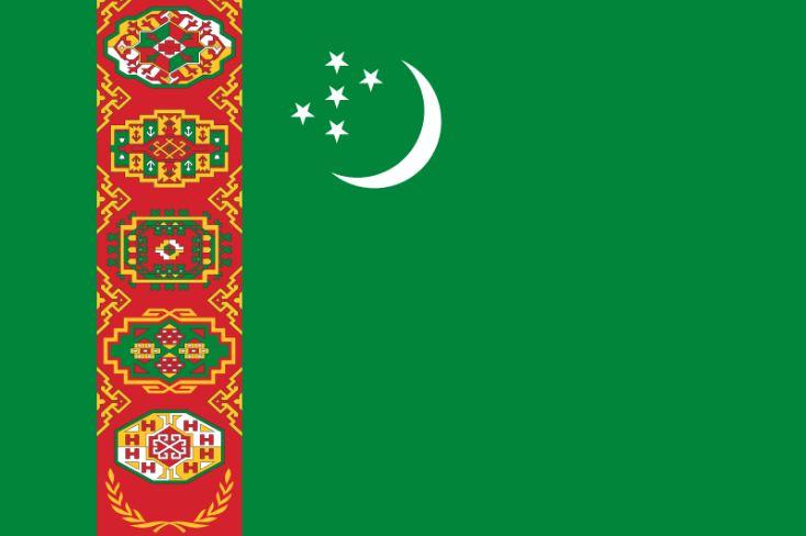 Drapeau turkmène, voyage au Turkménistan