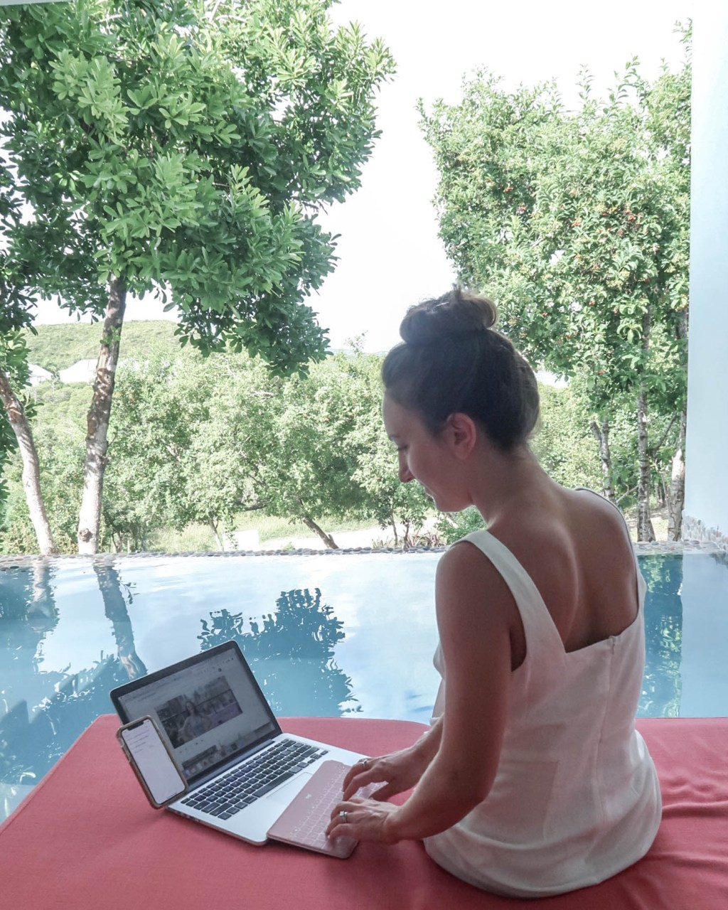 Leah Gervais in Antigua working with the trusty Logitech gear at the Escape at Nonsuch Bay
