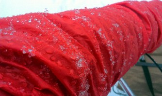 Ice forms on my windbreaker