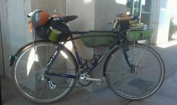 My Bridgestone XO-3, loaded and ready. Note new Jandd saddle bag.