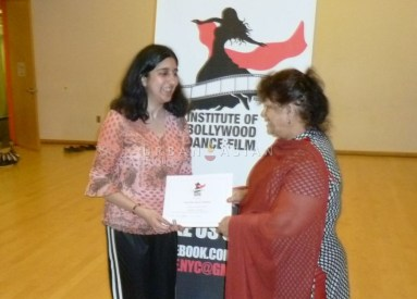 Getting the Certificate - Roopa and Saroj Khan 2