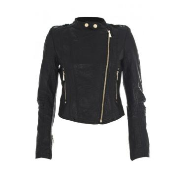 Black Diagonal Zip Biker Jacket