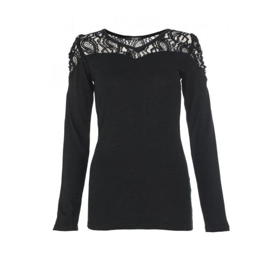 Black Diamante Lace Top