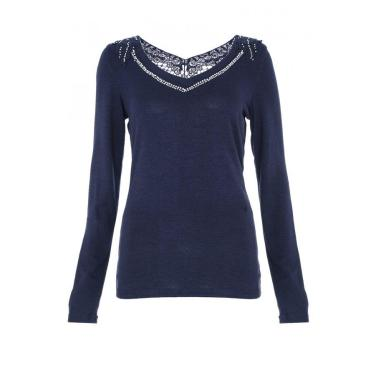 Navy Crochet and Diamante Long Sleeve Top