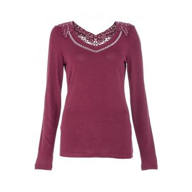 Wine Crochet and Diamante Long Sleeve Top