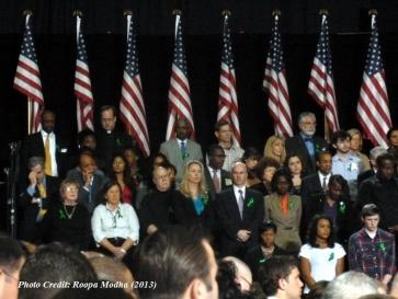 Audience members gathered to hear Pres. Obama
