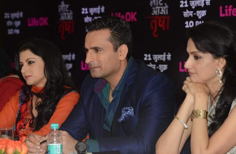 Actors Bhagyashree, Jai Kalra and Rajeshwari during a press conference to promote their upcoming television soap `Laut Aao Trisha` in New Delhi on July 11, 2014. (Photo: IANS)