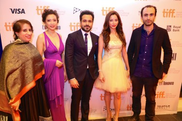 L-R-Guneet Monga, Geetanjali, Emraan Hashmi, Prashita Chaudhary and Khalid Abdallah on the red carpet at Toronto International Film Festival
