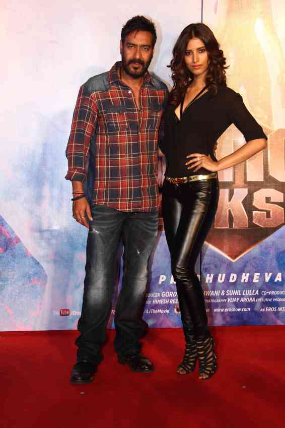 Ajay Devgn and Manasvi Mamgai at the 'Gangster Baby' song launch