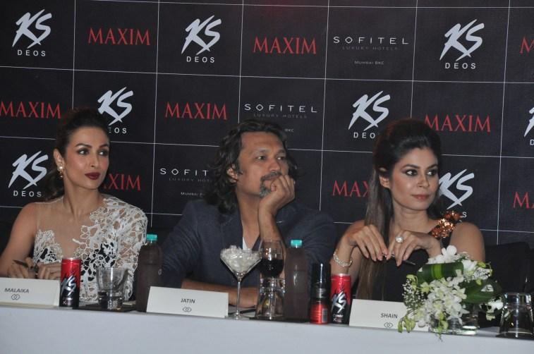 L-R, Jury Malaika Arora Khan, Jatin Kampani and Shaheen abbas at Kamasutra Miss Maxim 2015 event