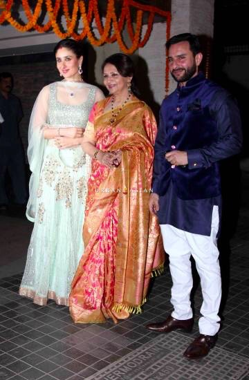 Bollywood actor Kareena Kapoor with her mother in law and actor Sharmila Tagore and husband and actor Saif Ali Khan