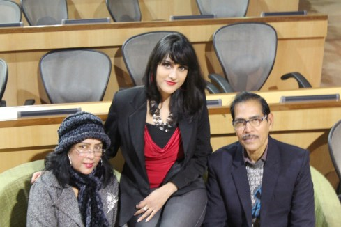 Sagarika Deb with her parents after the event