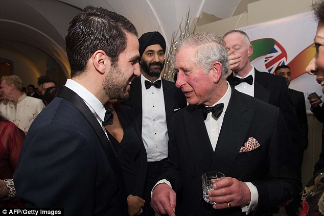 As well as talking to stars from the screen, the Prince (right) met Chelsea footballer Cesc Fabregas (left)
