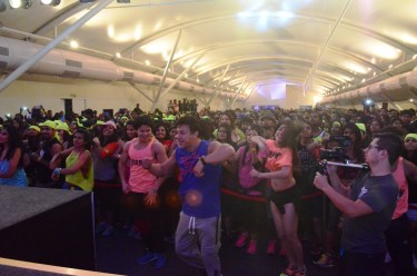 Beto Perez dancing with the crowd in India's largest Zumba masterclass