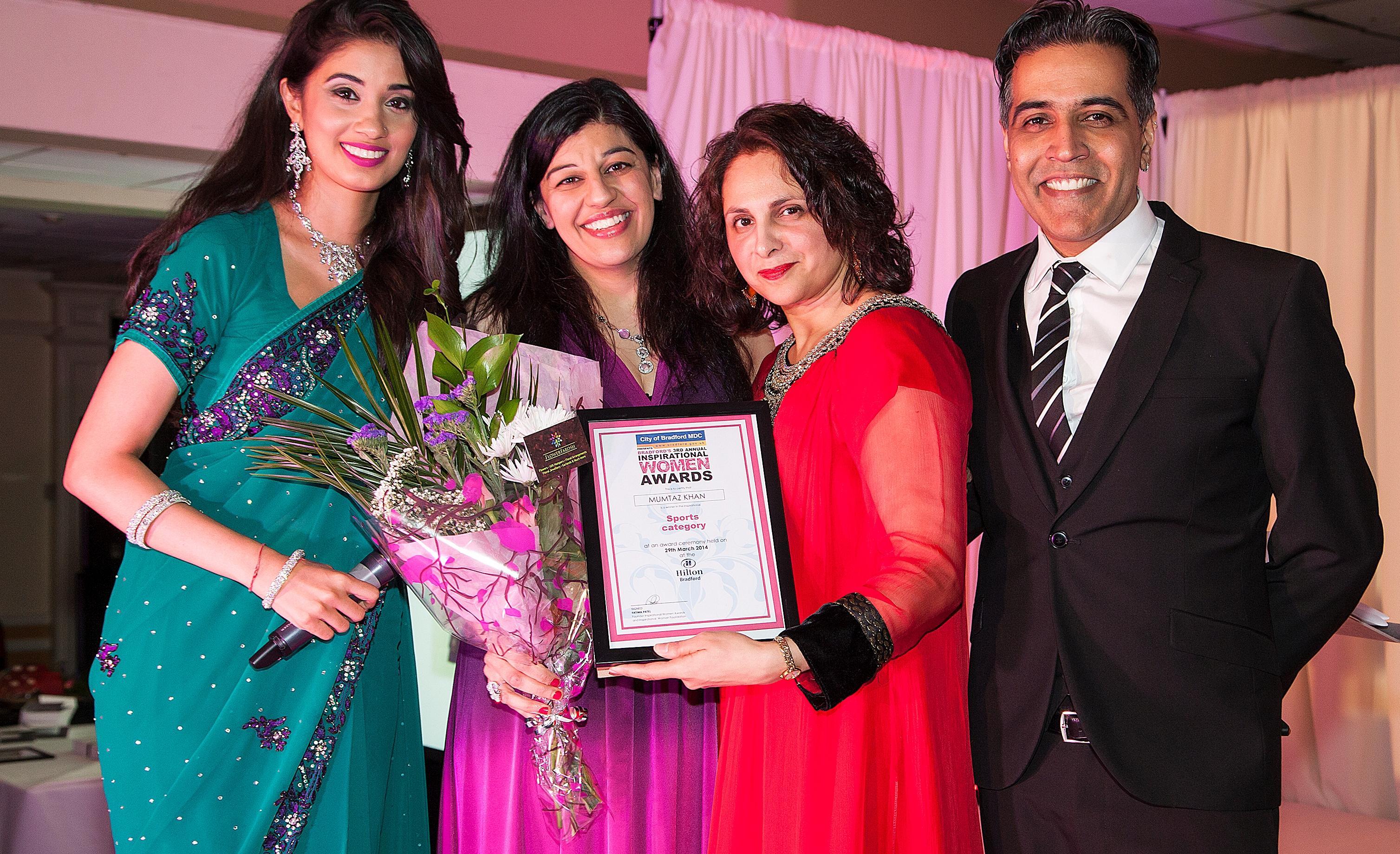 2014 Winner of Sport category Mumtaz Khan presented by Adeeba Malik MBE