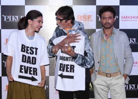Bollywood actors Amitabh Bachchan, Deepika Padukone and Irrfan Khan during the trailer launch of film Piku