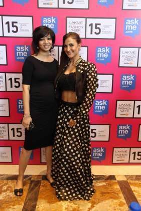 Elli Avram with Designer Pallavi Singhee at Lakme