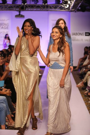 Showstopper Carol Gracias and Designer Anjali Patel Mehta at Lakme Fashion Week SR 15