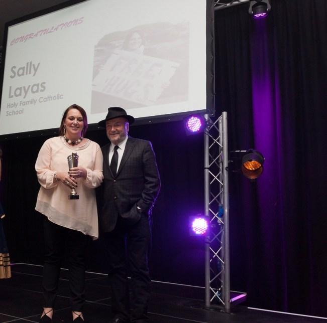BIWA 2015 Teacher Award winner, Sally Layas of Holy Cross School, presented by George Galloway