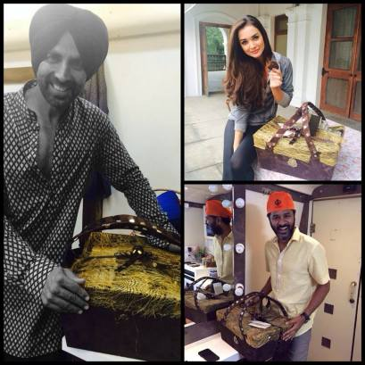 Our cast gets a luxurious welcome on the 1st day of ‪#‎SinghIsBliing‬ with goodies from Cavalli Caffe New Delhi