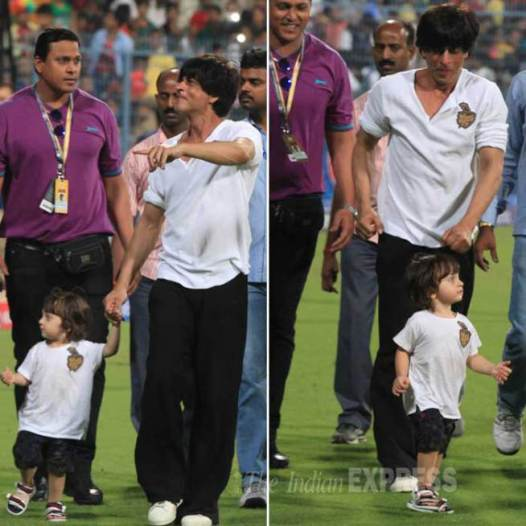 Abram and daddy SRK at KKR match