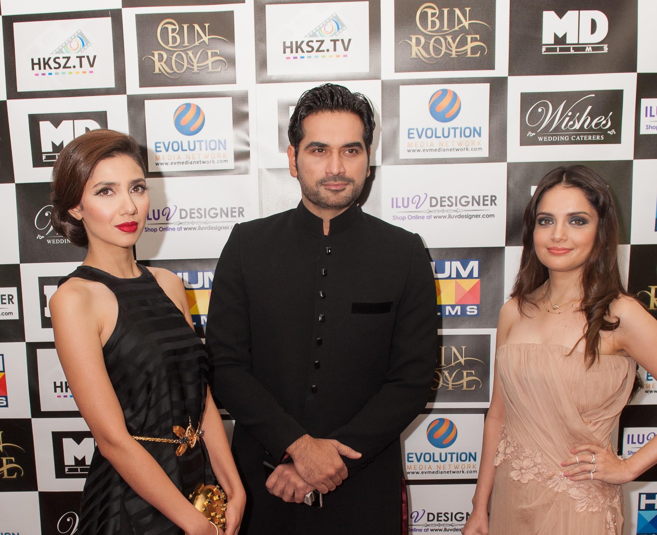 Bin Roye L-R Star cast of the film - Actress Mahira Khan, Actor Humayan Saeed, Actress Armeena Khan