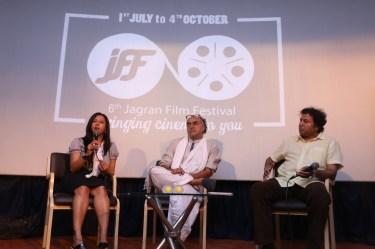 Ms.Lohita Sujith, Director of Corp Comm, Motion Picture Dist. Association (India) Pvt. Ltd. (MPDA), Mr.Rajit Kapur and Mr.Manoj Srivastava at the 6th Jagran Film Festival