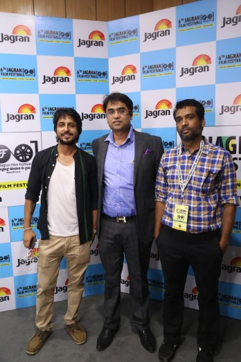 Sunil Subramani (Director), Pradeep Gupta (Producer) & Pawan Kumar Sharma (Writer) for the world premiere of Fuddu movie at the 6th Jagran Film Festival
