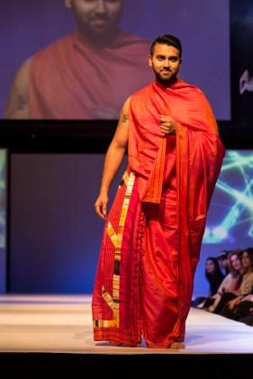 A Model wearing Anamika Khanna and Gaurav Gupta at the fashion show at IFFm 2015