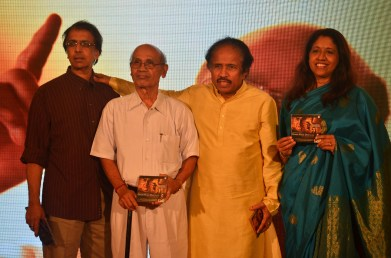 The unveiling of the music CD by Mr. Gour Hari Das at the music launch of the movie Gour Hari Dastaan ~ the freedom file