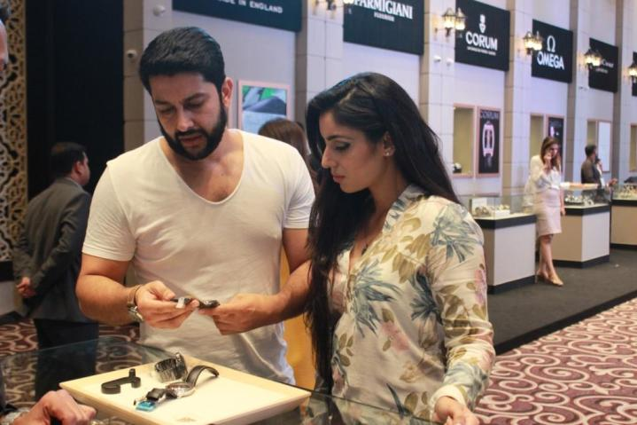Aftab Shivdasani with his wife Nin Dusanj at the day 2 of Time Avenue Haute Horlogerie exhibition