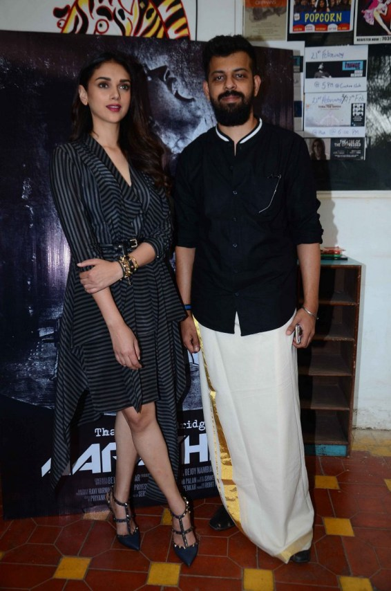 Bejoy Nambiar along with Aditi Rao Hydari at the launch of music video Aarachar