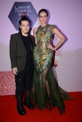 Designer Asa Kazingmei with Mandana Karimi for LFW 2016_1