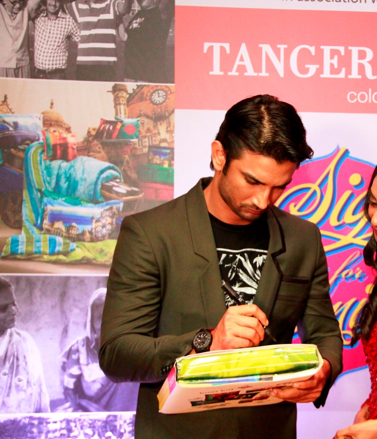 Sushant Singh Rajput signs for a CSR initative by Tangerine to donate bedsheets to oldage home