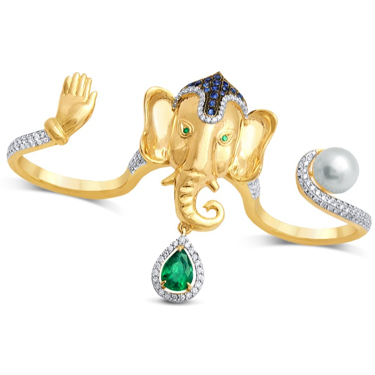 Ring by Anmol crafted in 18 K gold and set with emerald, pearl, blue sapphires and round brilliant diamonds