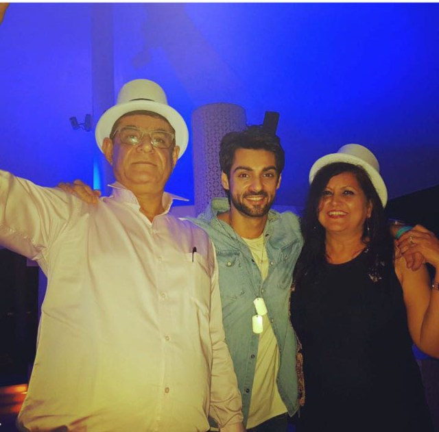 Karan Wahi with parents in Dubai